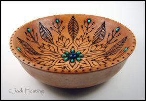 Blue Lotus - Wooden Offering Bowl by andromeda