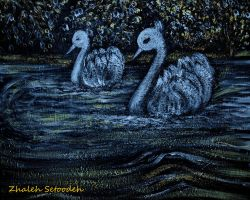 Moonlight Swans by zhaleh