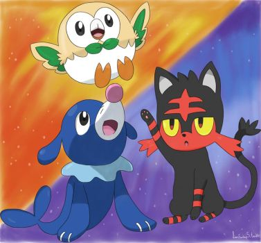 Pokemon Sun and Moon Starters by OneDirectionFanJohn