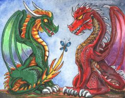 HoMM3: Green and Red Dragons by AlienNocsastarino
