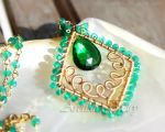 *Adeola* Emerald green gold necklace by Arctida