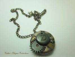 Steampunk Z Pendant by hattiepolyproduction