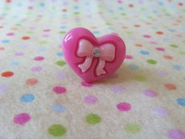Pink Heart n Bow Ring by Rotting-Soul