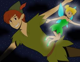 Peter Pan and Tink by InsaneHamburgers