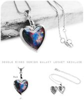 Double Sided Galaxy Silver Heart Locket Necklace by crystaland