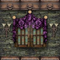 Trimmed wall with small window and purple swag and by Spyderwitch