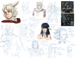 Final Fantasy XIV - SKETCH DUMP #4 by Ya-e