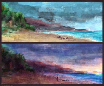 SketchDaily II 2: Night and Day Beaches by mintyfreshmangos