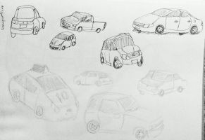 Cars in ink and graphite by AceOfKeys72