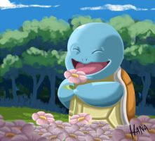 Squirtle smelling flowers by dabbuti