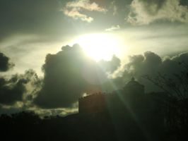 sun behind clouds 1 by blubooelle