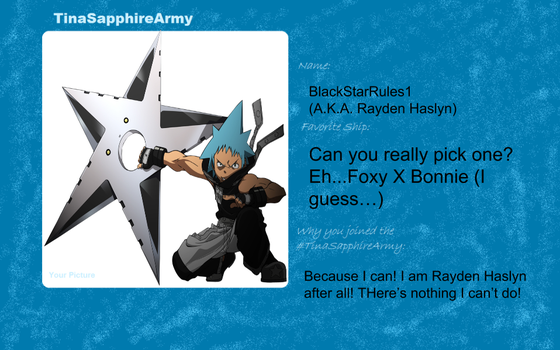 My ID Card for the Tina-Sapphire Army! by BlackStarRules1