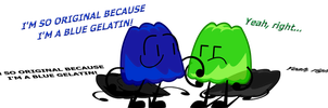 Blue Gelatin and Green Gelatin Meet by AnimatorFlashSpeedz
