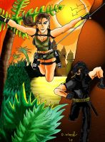 The Saviour and Lara Croft by MrDCWood