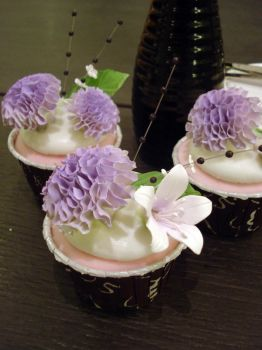 Violet Carnation Cupcakes by Sliceofcake