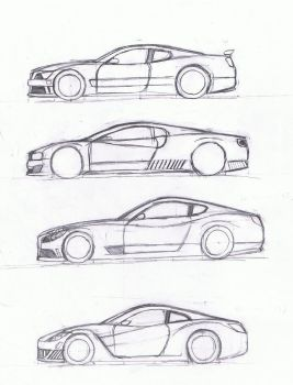 Car Side Sketches by K9RASArt