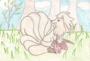 Ninetails And Baby Vulpix by Uxie77