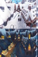 Hogsmeade - Day and Night by Felicity-Moep