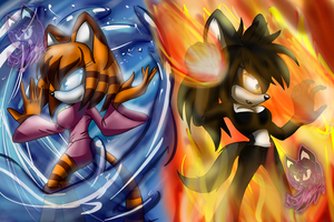 Firebender and waterbender by Neyla-The-Lioness