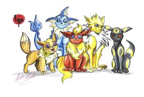 Eevee Family by rabidchild42