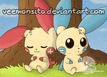 Plusle with Minun by Veemonsito