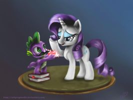 Spike and Rarity (Taken from the 3rd Remake) by Reillyington86