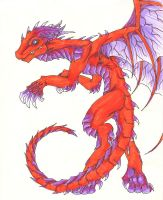 -old- Red Dragon in markers by CelebrenIthil