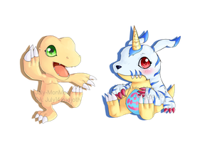 Agumon and Gabumon-chibis by July-MonMon