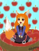 Holo the wise wolf in an apple basket by eilujenna