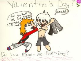 Valentine's Day? NO! No Pants Day! by QweXTheXEccentric