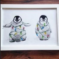 Christmas penguin coloured pencil drawing by xmy-craftsx