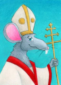 Rat with a pope hat - Art Trading Card by tursiart