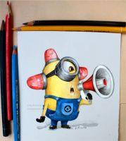 Minion on my desk by Poppysleaf