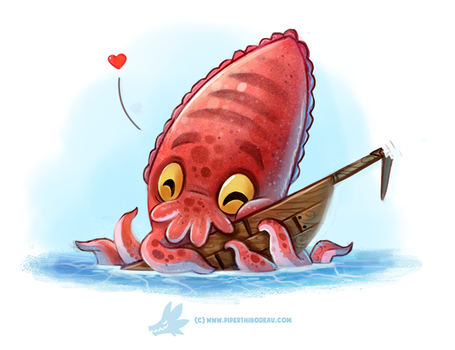 Daily Paint #1274. Cuddlefish by Cryptid-Creations