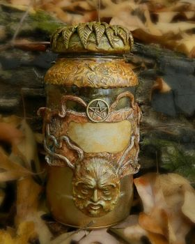 Greenman apothecary jar 1 by EMasqueradeGallery
