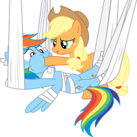 Applejack feeding Rainbow Dash by dasprid
