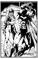 Batman an Harley Quinn by Marcio Abreu. Inks by CB by CB-ComicArt