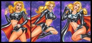 EVIL SUPERGIRL PERSONAL SKETCH CARDS by AHochrein2010