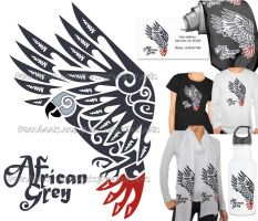 For Sale: African grey parrot tribal tattoo by emmil