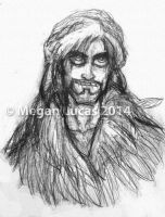 Sketch of Loki in Freyja's feather cloak by MademoiselleMeg