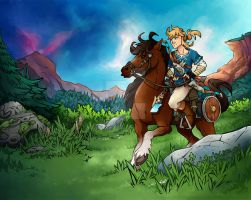 Link with Epona by Natachouille
