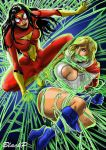Spiderwoman VS Powergirl by BlackProf
