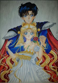 Princess Serenity and Prince Endymion by Chromates