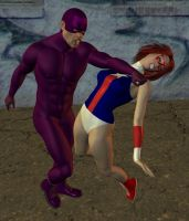 Superheroine defeated by cattle6