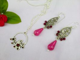 Silver set with red pearls by Mirtus63