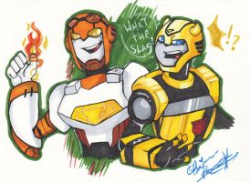 Jetfire and Bumblebee by NRRDiSKUNK