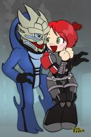 Mass Effect (Chibi Garrus and Shepard) by SimplyErika