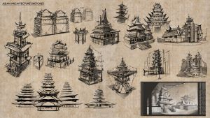 Asian Architecture Sketches by fercastz
