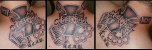 Cross, Microphone and Knuckleduster Tattoo by D3adFrog