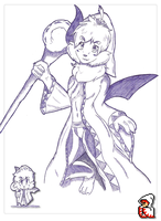 Auria with White Mage by NES-Fan